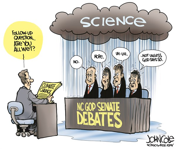 John Cole - ncpolicywatch.com - LOCAL NC GOP and climate change COLOR - English - North Carolina, Thom Tillis, GOP, senate race, debate, climate change, nasa, science, religion