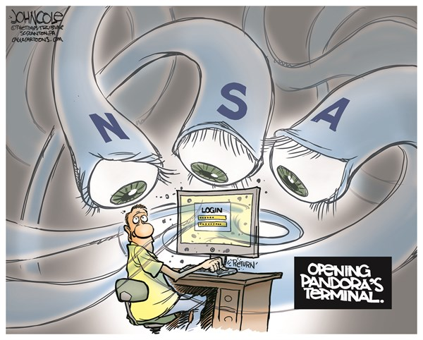 Pandora's Terminal © John Cole,The Scranton Times-Tribune,NSA, spying, hacking, social media, online, internet, WWW, web, email, espionage, privacy, snowden