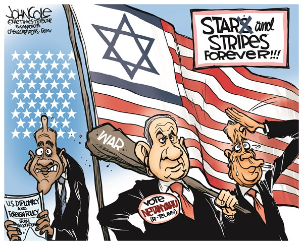 Star and stripes forever © John Cole,The Scranton Times-Tribune,Israel, John Boehner, Benjamin Netanyahu, Netanyahu, congress, GOP, Iran, speech, joint session, mideast, middle east, nuclear, power
