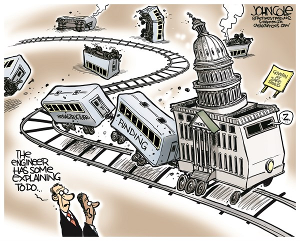 Congress and infrastructure © John Cole,The Scranton Times-Tribune,Cngress, Amtrak, accident, transportation, infrastructure, funding, railroads, highways, bridges, safety, NHTSA