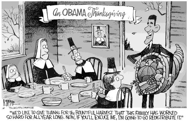Rick McKee - The Augusta Chronicle - Obama Thanksgiving COLOR - English - Obama,Thanksgiving,redistribute,family,harvest,food,share,thanks