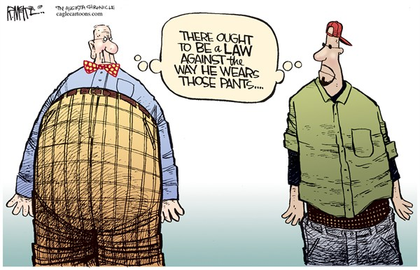 Rick McKee - The Augusta Chronicle - Law Against Pants - English - pants,law,hip hop,old,high,low