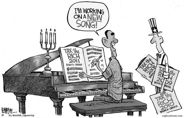 Rick McKee - The Augusta Chronicle - Tax the Rich Song - English - taxes,President,Obama,song,rich,poor,money,recession