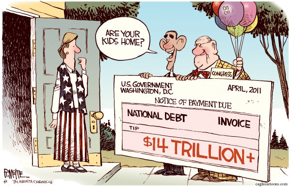 Rick McKee - The Augusta Chronicle - National Debt Invoice COLOR - English - national,debt,invoice,government,Washington,Obama,kid,pay,spending