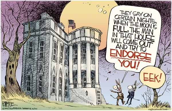 Rick McKee - The Augusta Chronicle - Presidential Endorsement - English - Obama,President,endorsement,Democrats,White House,Halloween