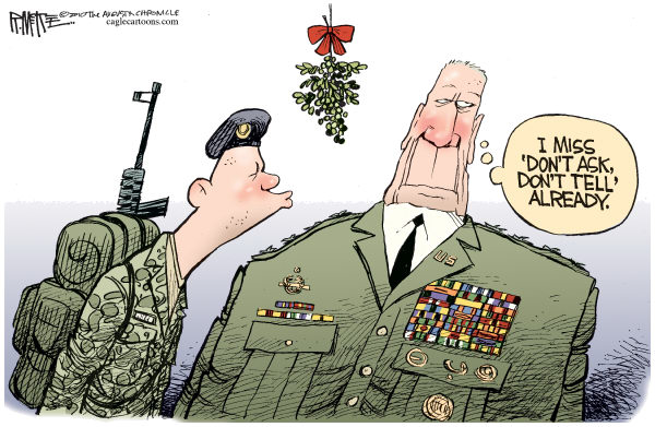 Rick McKee - The Augusta Chronicle - Don't Ask Don't Tell - English - Iraq,don't ask, don't tell,military,kiss,mistletoe,soldiers,gay,lesbian