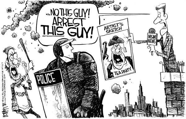 Rick McKee - The Augusta Chronicle - Occupy Protester Arrests - English - Occupy Oakland, Occupy Wall Street, Occupy, Wall Street, Oakland, protester, arrested, arrests, Tea Party, Tea Partier, Mainstream Media, Media