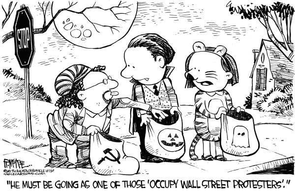 Rick McKee - The Augusta Chronicle - Occupy Protester Halloween Costume - English - Occupy Wall Street, protester, Occupy, Halloween, costume, wealth redistribution