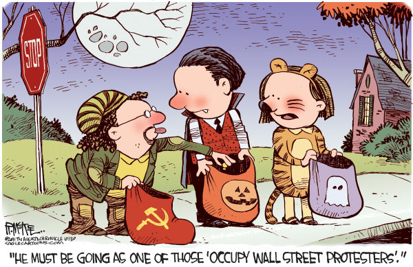Rick McKee - The Augusta Chronicle - Occupy Protester Costume - English - Occupy Wall Street, protester, Occupy, Halloween, costume, wealth redistribution
