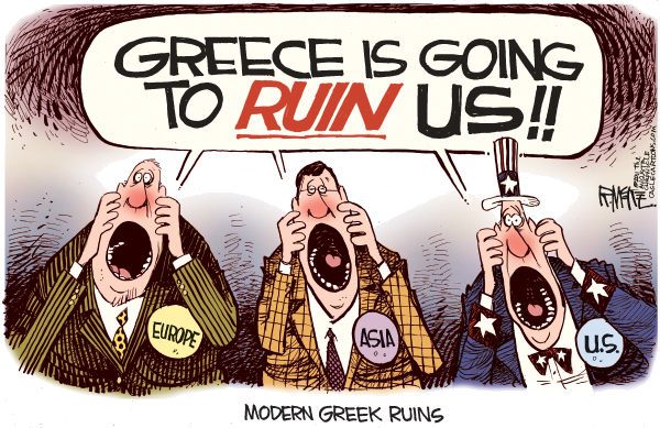 Rick McKee - The Augusta Chronicle - Greek Ruins - English - Greece, Europe, Asia, United States, debt crisis, economy, recession ruins