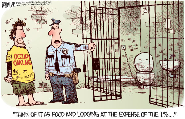 Rick McKee - The Augusta Chronicle - Occupy Oakland Jail - English - Occupy Oakland, California, protesters, rioters, general strike, riot police, jail, arrests