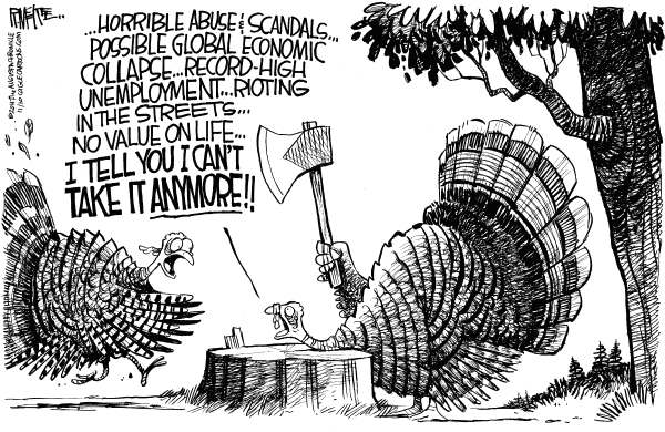 Rick McKee - The Augusta Chronicle - Turkey Suicide - English - Thanksgiving, turkey, abuse, scandal, global economic collapse, occupy, rioting, unemployment, murder, Penn St, Paterno, Cain, Italy, Greece, Europe, Debt