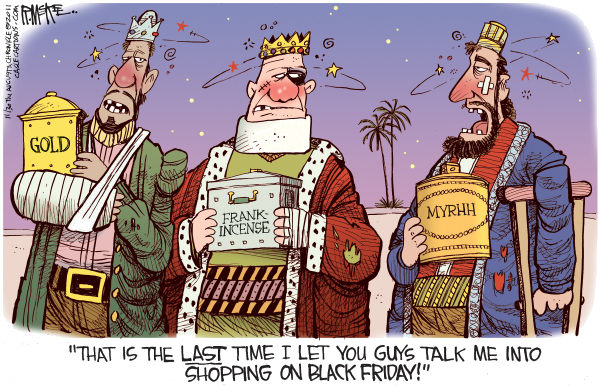 Rick McKee - The Augusta Chronicle - Black Friday Wise Men - English - Christmas, shopping, holidays, Black Friday, Wise Men, Magi, Three Kings