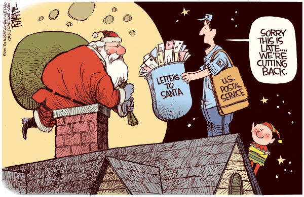 Late Postal Service © Rick McKee,The Augusta Chronicle,US Postal Service, Post Office, postal workers, cutbacks, Christmas, Santa, Santa Claus, late delivery