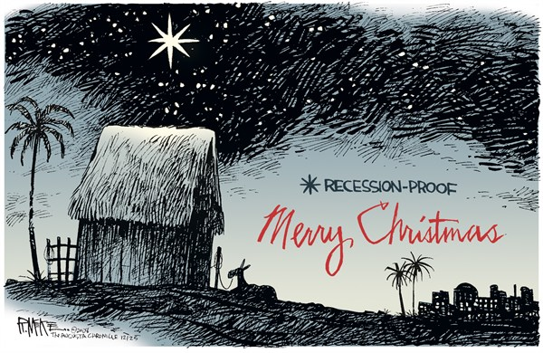 Rick McKee - The Augusta Chronicle - Christmas Recession Proof COLOR - English - Christmas, Nativity, Star of Bethlehem, stable, manger, Christ, Merry Christmas, Bethlehem