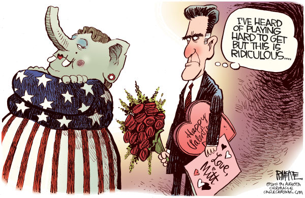 Rick McKee - The Augusta Chronicle - Mitts Valentine COLOR - English - Mitt, Romney, Valentines Day, GOP, Republican, Presidential primary, candidate
