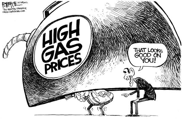 Rick McKee - The Augusta Chronicle - Obama and Gas Prices - English - Obama, Gas, Gasoline, Oil, Prices