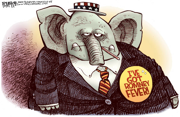 Romney Fever © Rick McKee,The Augusta Chronicle,Mitt Romney, GOP, Republican, candidate, primaries, Super Tuesday