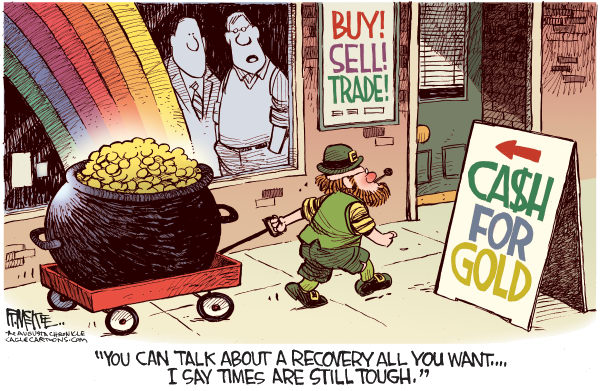 St Patricks Cash For Gold © Rick McKee,The Augusta Chronicle,St Patricks Day, Leprechaun, cash for gold, economy, recovery