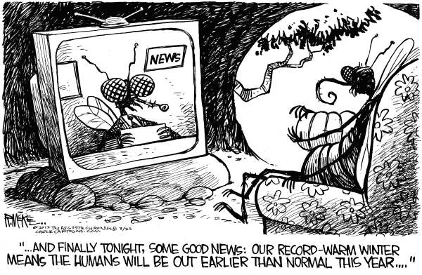 Rick McKee - The Augusta Chronicle - Buggy Spring - English - Warm winter, Spring, bugs, insects