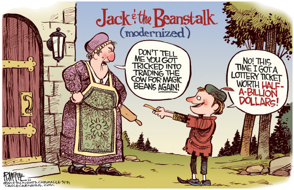 Rick McKee - The Augusta Chronicle - Jack and the Lottery Ticket - English - Jack and the Beanstalk, Mega Millions, Lottery