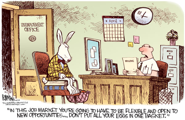 Rick McKee - The Augusta Chronicle - Easter Bunny Unemployment COLOR - English - Easter, Bunny, Unemployment, jobs, economy