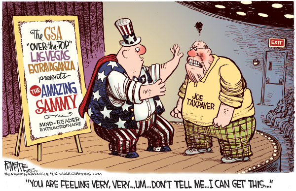 Rick McKee - The Augusta Chronicle - GSA Mind Reader COLOR - English - GSA, Las Vegas, party, scandal, mind reader