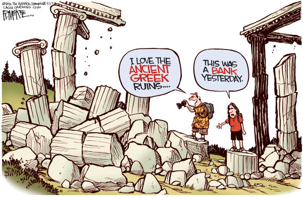 Rick McKee - The Augusta Chronicle - Greek Ruins - English - Greece, Greek ruins, debt crisis, financial crisis, banks
