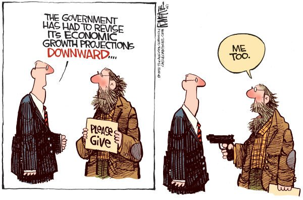 Rick McKee - The Augusta Chronicle - Revised Economic Projections - English - Revised Economic Projections, Downward, Jobless, Recession, Economy
