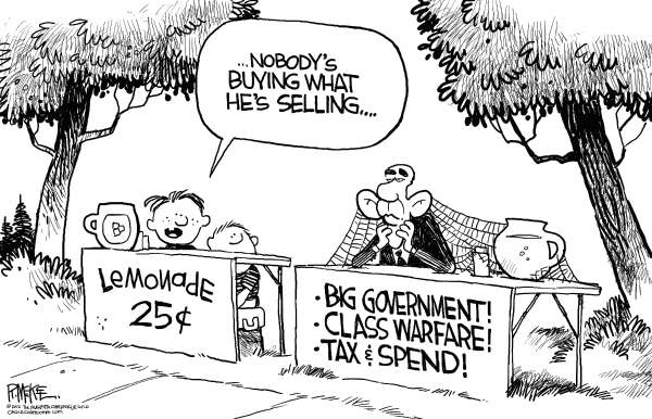 Rick McKee - The Augusta Chronicle - Not Buying It - English - Obama, big government, tax and spend, class warfare, lemonade stand