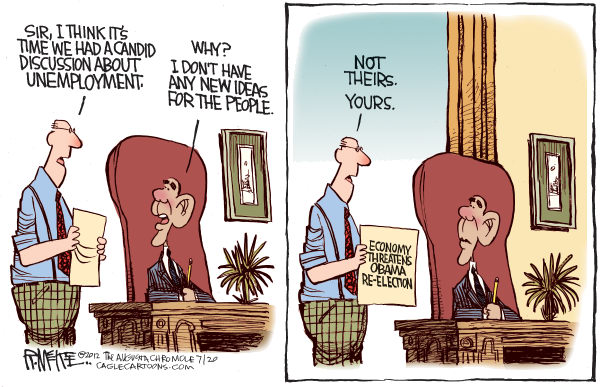 Rick McKee - The Augusta Chronicle - Obama and Unemployment - English - Obama, unemployment, economy