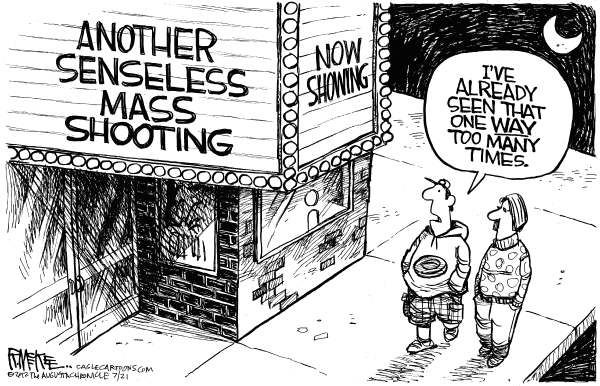 Rick McKee - The Augusta Chronicle - Batman Shooting - English - Aurora, Colorado, mass shooting, Batman, Dark Knight Rises
