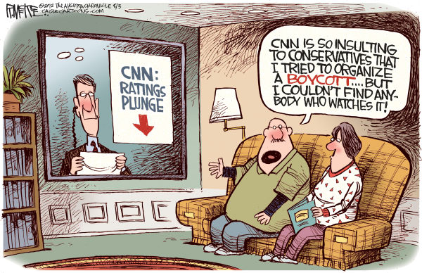 Rick McKee - The Augusta Chronicle - CNN's Ratings Plunge - English - CNN, Cable News Network, ratings, conservatives, Sarah Palin, Stupid Girls, boycott