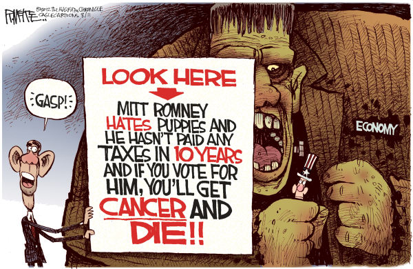 Rick McKee - The Augusta Chronicle - Obama Cancer Agent - English - Barack, Obama, Mitt, Romney, cancer, economy