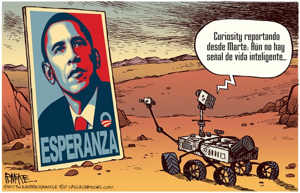 Rick McKee - The Augusta Chronicle - No hay Vida Inteligente en Marte - English - NASA,JPL,Rover,Curiosity,Marte,aterrizaje,superficie,planeta,rojo,exploracion,espacial,vida,inteligente