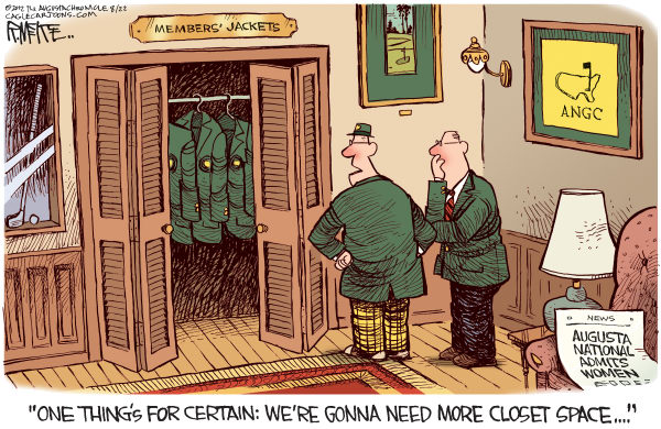 Rick McKee - The Augusta Chronicle - Women in Augusta National - English - Augusta, Augusta National Golf Club, Golf, women, Condoleezza Rice, Darla Moore