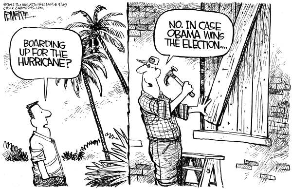 Rick McKee - The Augusta Chronicle - Hurricane Obama - English - Hurricane, Isaac, Barack, Obama, boarding up