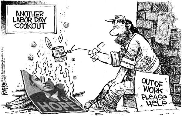 Rick McKee - The Augusta Chronicle - Labor Day Cookout - English - Labor Day, cookout, unemployment, jobless, Barack Obama, poster