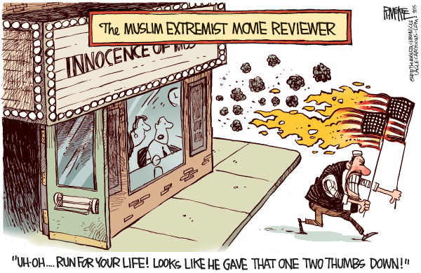 Rick McKee - The Augusta Chronicle - Muslim Extremist Movie Reviewer - English - Islam, Muslim, extremism, extremists, violence, rioting, movie, film