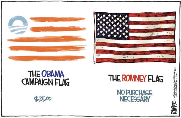 Rick McKee - The Augusta Chronicle - Obama Flag - English - Obama, flag, Romney