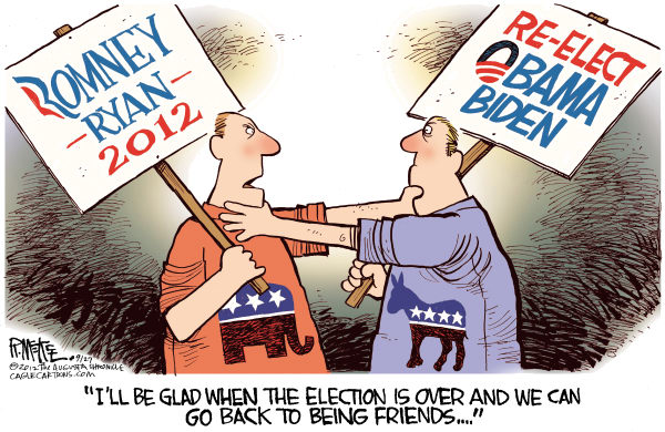 Rick McKee - The Augusta Chronicle - Can't We All Just Get Along - English - Romney, Obama, Republican, Democrat