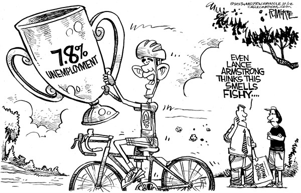Rick McKee - The Augusta Chronicle - Unemployment Doping - English - Barack, Obama, Lance, Armstrong, unemployment, doping