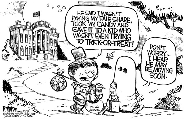 Rick McKee - The Augusta Chronicle - Obama Trick Or Treat - English - Barack, Obama, Trick or Treat, Halloween, fair share, wealth redistribution, tax the rich, taxes