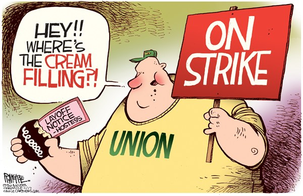 Rick McKee - The Augusta Chronicle - Hostess Layoffs - English - Hostess, layoffs, unions, strike, wheres the cream filling