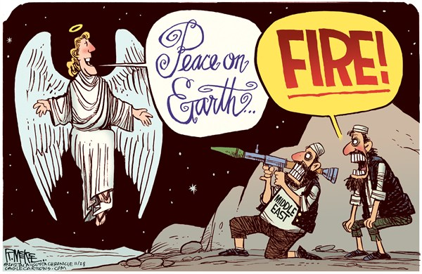 Rick McKee - The Augusta Chronicle - Peace on Earth - English - Peace on Earth, angel, Middle East, Egypt, Syria, Israel, Gaza, Iran