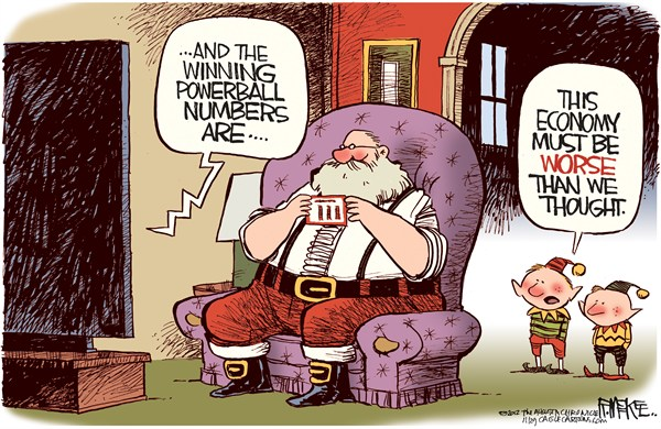 Rick McKee - The Augusta Chronicle - Santa Powerball - English - Santa, Christmas, Powerball, Lottery, Economy