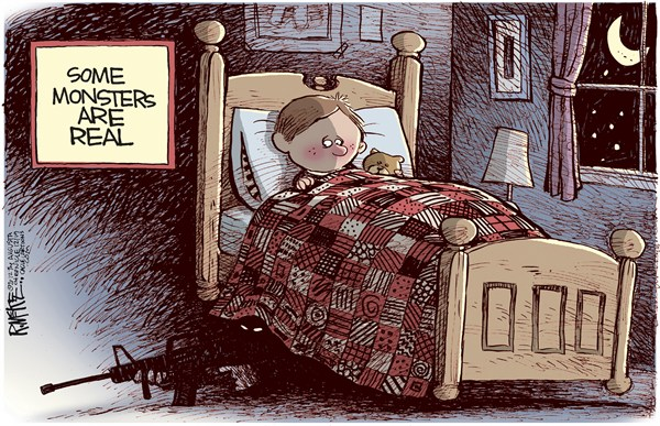 Rick McKee - The Augusta Chronicle - Real Monsters - English - Sandy Hook, Newtown, school, shooting, massacre
