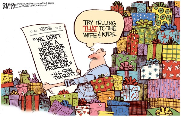 Rick McKee - The Augusta Chronicle - Spending Problem - English - Senator, Tim Scott, Fiscal Cliff, Taxes, Spending, Revenue