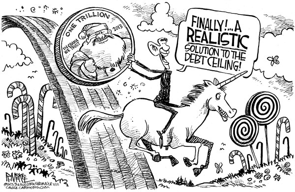 Rick McKee - The Augusta Chronicle - Trillion Dollar Coin - English - Trillion dollar coin, Obama, debt ceiling, Democrats, unicorn