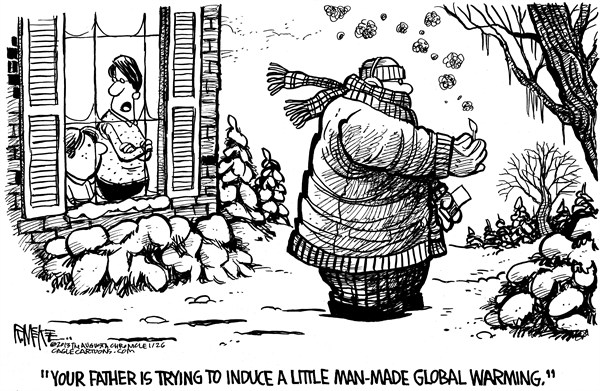 Rick McKee - The Augusta Chronicle - Global Warming Please - English - winter, global warming